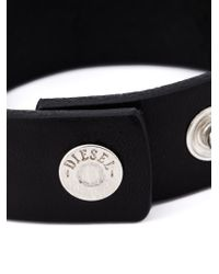 DIESEL | Black Embossed Logo Bracelet for Men | Lyst