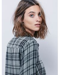 Free People - Gray Check Plaid Shirt - Lyst