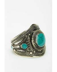 Urban Outfitters - Green Large Stone Statement Cuff Bracelet - Lyst