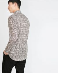 Zara | Natural Print Shirt for Men | Lyst
