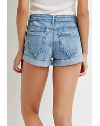 Forever 21 | Blue Button Cuffed Denim Shorts | Lyst