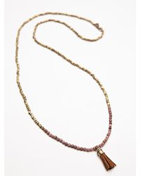 Free People - Pink Ananda Tassel Necklace - Lyst