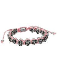 King Baby Studio - Pink Macrame Bracelet W/ Alloy Roses - Lyst