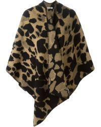 Burberry - Black Leopard Pattern Scarf - Lyst
