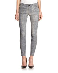J Brand - Gray Python Print Leather Skinny Jeans - Lyst