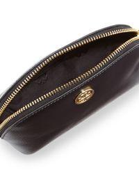 Tory Burch - Black Robinson Saffiano Small Makeup Bag - Lyst