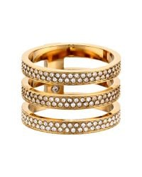 Michael Kors | Metallic Tri Stack Open Pave Bar | Lyst