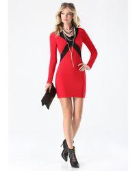 Bebe - Red Crisscross Sweater Dress - Lyst