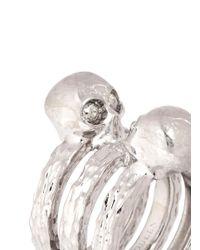 Alexander McQueen - Metallic Skull Embellish Triple Band Ring - Lyst