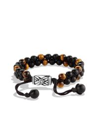 David Yurman - Spiritual Beads Tworow Bracelet with Black Onyx and Tigers Eye for Men - Lyst