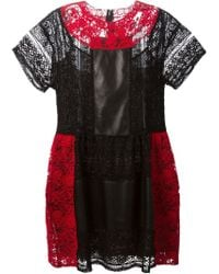 Valentino - Black Lace Panel Dress - Lyst