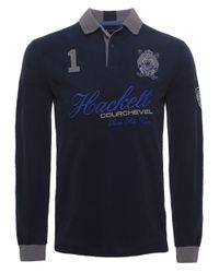 Hackett - Blue Tailored Fit Long Sleeve Snow Polo Shirt for Men - Lyst