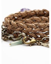 Free People - Brown Braided Wrap Bracelet - Lyst