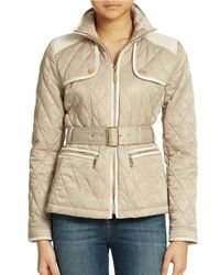 Vince Camuto | Natural Belted Quilt Jacket | Lyst