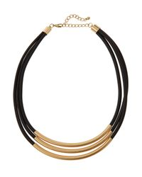 Kenneth Jay Lane - Metallic Golden Triple-strand Rubber Cord Necklace - Lyst