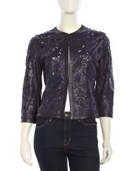 Grayse - Blue Longsleeve Floralcutout Leather Jacket Navy Small - Lyst