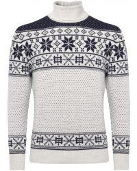 Jules B - Gray Roll Neck Fair Isle Sweater for Men - Lyst