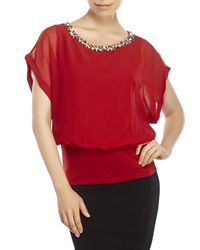 Joseph A - Red Embellished Blouson Top - Lyst