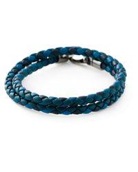 Tod's - Blue Braided Leather Bracelet for Men - Lyst