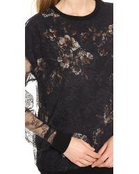 Jason Wu - Black Lace & Ruffle Sheer Blouse - Lyst