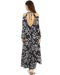 Thakoon Addition   Black Long Floral-print Silk Cold-shoulder Dress   Lyst