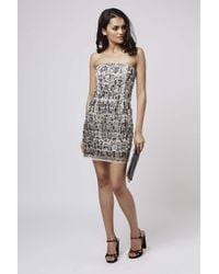 TOPSHOP | Gray Mirror Embellished Bodycon Dress | Lyst