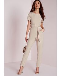 Missguided | Natural Tie Front T-shirt Jumpsuit Nude | Lyst