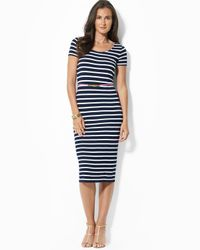 Ralph Lauren - Blue Lauren Scoop Neck Stripe Dress with Belt - Lyst