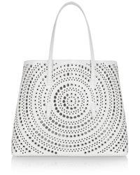 Alaïa | White Embellished Laser-Cut Leather Tote | Lyst
