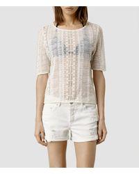 AllSaints | White Maren Top | Lyst