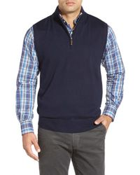Peter Millar | Black Quarter Zip Merino Wool Vest for Men | Lyst