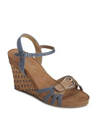 Aerosoles | Blue Plush Around Wedge Sandals | Lyst