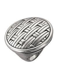 John Hardy - Metallic Silver Basket-Weave Ring - Lyst