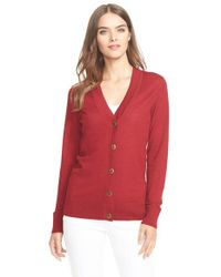Tory Burch | Red 'simone' Wool Cardigan | Lyst