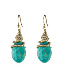 Alexis Bittar - Blue Crystal Vine Capped Turquoise Earrings - Lyst