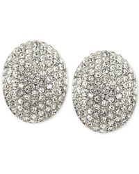 Carolee | White Silver-tone Pavé Crystal Button Earrings | Lyst