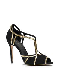 Michael Kors | Black Caryn Suede Peep-toe Pumps | Lyst