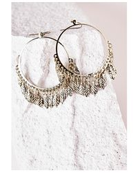 Missguided | Metallic Large Leaf Detail Hoop Earrings Gold | Lyst