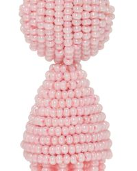 Oscar de la Renta | Pink Short Beaded Tassel Earrings | Lyst
