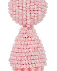 Oscar de la Renta - Pink Short Beaded Tassel Earrings - Lyst