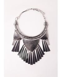 Missguided - Metallic Metal Tassel Tribal Collar Necklace - Lyst