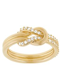 Swarovski | Metallic Voile Gold Tone And Crystal Knot Ring | Lyst