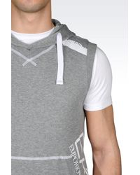 EA7 - Gray Hooded Sweatshirt for Men - Lyst