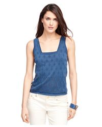 Brooks Brothers | Blue Supima® Cotton Sleeveless Shell | Lyst
