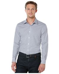 Perry Ellis - Gray Non-iron Double Check Shirt for Men - Lyst