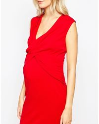 ASOS | Red Maternity Bodycon Dress With Ruching | Lyst