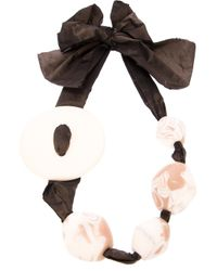 Antonella Filippini - Black Beaded Bow Ribbon Necklace - Lyst
