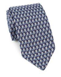 Ferragamo | Blue Owls & Flowers Silk Tie for Men | Lyst