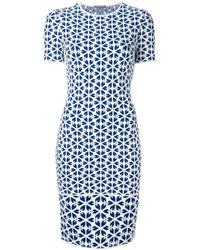 Alexander McQueen | Blue Embossed Cut Out Floral Jacquard Dress | Lyst