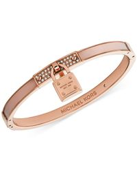 Michael Kors | Pink Rose Gold-Tone Blush Padlock Bangle Bracelet - Macy'S Exclusive | Lyst